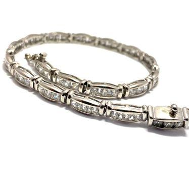 """5.75ctw Diamonique Tennis Bracelet Platinum & 925 Sterling Silver 7"""" Long"""