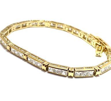 "8.25ctw Diamonique Tennis Bracelet Yellow Gold & 925 Sterling Silver 6 3/4"" Long"