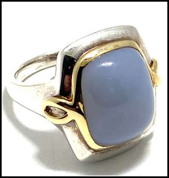 8.5ctw Blue Chalcedony, .925 Sterling Silver Ring Size 7 Authentic Lorenzo