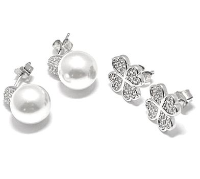 .925 Sterling Silver 0.35ctw Diamonique & 10mm Created Pearl Lot of 2 Earrings