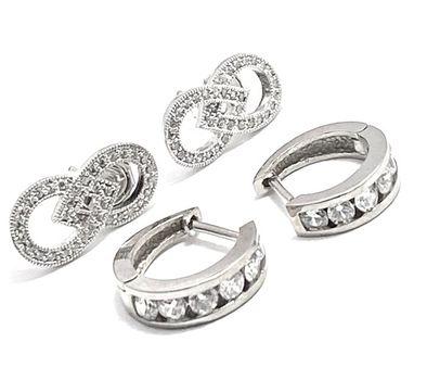 .925 Sterling Silver 0.60ctw Diamonique Lot of 2 Earrings