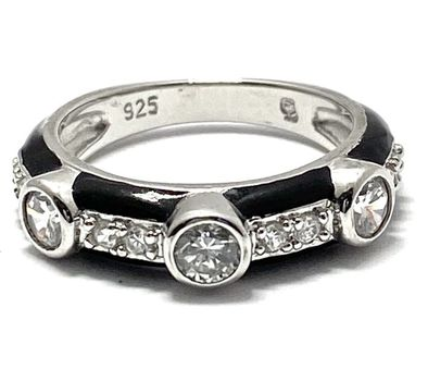 .925 Sterling Silver 0.75ctw Diamonique with Black Enamel Ring Size 5.5