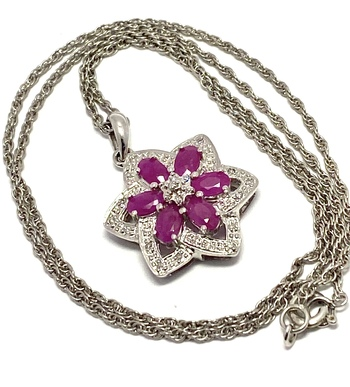 .925 Sterling Silver 0.90ctw Genuine Ruby & 0.125ctw Genuine Diamond Necklace