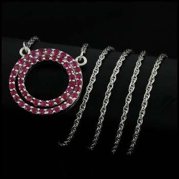 .925 Sterling Silver 1.00ctw Genuine Ruby & 0.09ctw Genuine Diamond Reversable Necklace