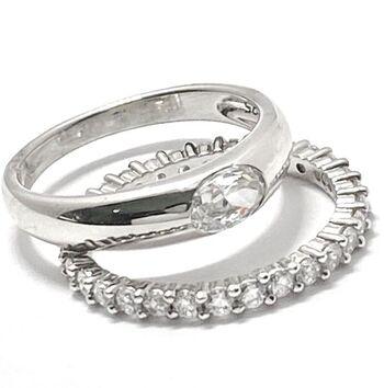 .925 Sterling Silver 1.50ctw Diamonique Bridal Engagement Ring Set Size 7