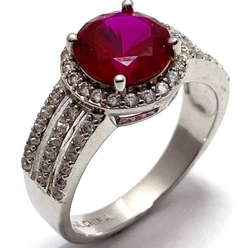 .925 Sterling Silver 2.00ct Ruby & 0.25ctw Diamonique Ring Size 7