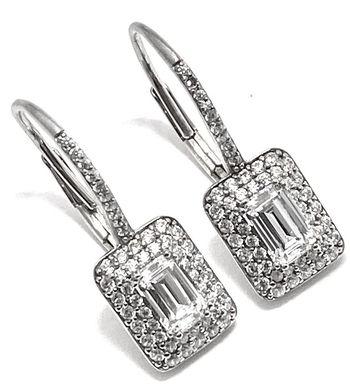 .925 Sterling Silver 2.00ctw Diamonique Earrings