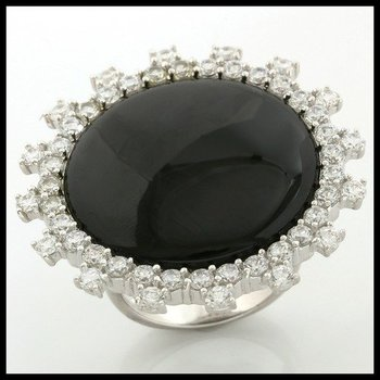 .925 Sterling Silver, 25mm Black Onyx & 2.25ctw White Topaz Ring size 7