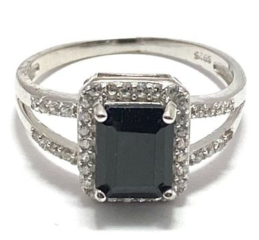 .925 Sterling Silver 3.00ct Black Spinel & 0.30ctw Diamonique Ring Size 7
