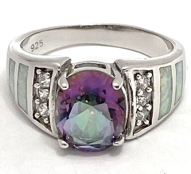 .925 Sterling Silver 4.50ct Genuine Mystic Topaz, 0.10ctw Diamonique, 0.25ctw Opal Ring Size 7 1/4