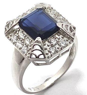 .925 Sterling Silver 5.00ctw Sapphire & 0.50ctw Diamonique Ring Size 8