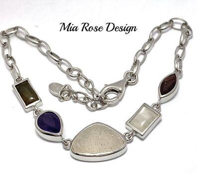 .925 Sterling Silver 9.75ctw Genuine Multicolor Stones Mia Rose Design Bracelet