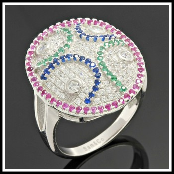 .925 Sterling Silver, Emerald, Blue & Pink Sapphire  Ring   size 9