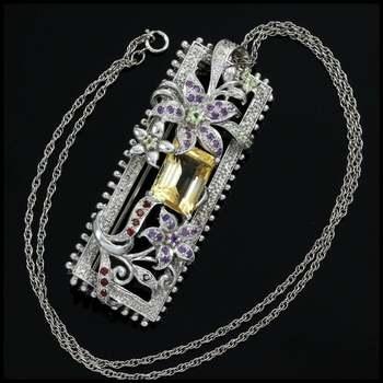 .925 Sterling Silver Genuine Citrine, Amethyst, Peridot, Garnet & Diamond Necklace-Pin