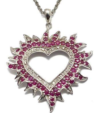 .925 Sterling Silver Genuine Ruby & Diamond Necklace