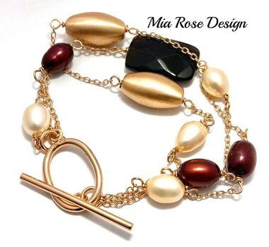 .925 Sterling Silver & Rose Gold Overlay Mia Rose Design Genuine Pearls & Smokey Quartz Bracelet