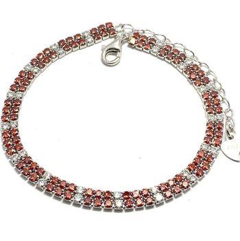 .925 Sterling Silver & White Gold Overlay Garnet & White Topaz Bracelet