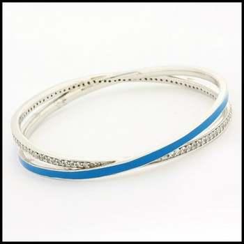 .925 Sterling Silver & White Gold Plated, Blue Enamel & White Topaz Bracelet