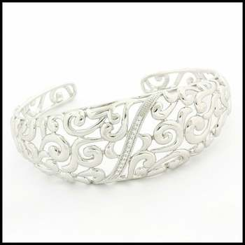 .925 Sterling Silver & White Gold Plated, Cubic Zirconia Bracelet