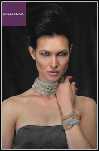 Adami & Martucci Italian Designer Mesh Collection Two Tone Set of Necklace & Bracelet
