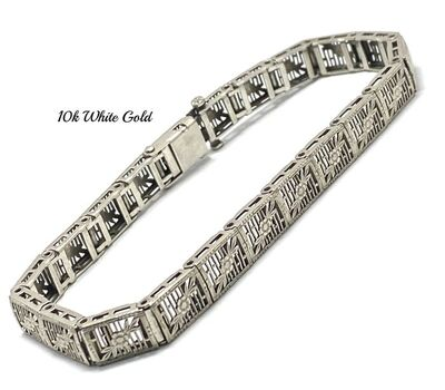 Antique 1940's 10k White Gold Filigree Tennis Bracelet