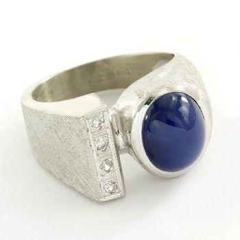 Antique 1950's 14k White Gold Cat Eye & 0.20ctw Genuine Diamond Unisex Ring Size 6.5