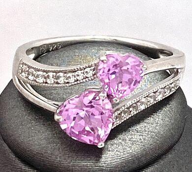 Autentic Lorenzo .925 Sterling Silver 1.82ctw Genuine White & Pink Topaz Ring Size 7
