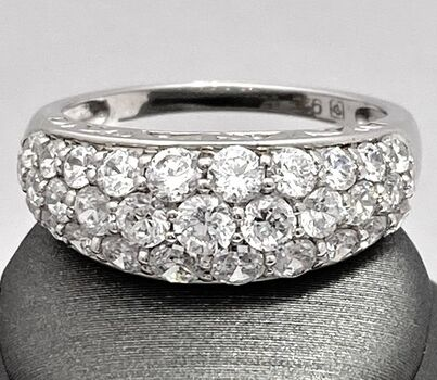 Autentic Lorenzo .925 Sterling Silver 3.02ctw Diamonique Ring Size 7