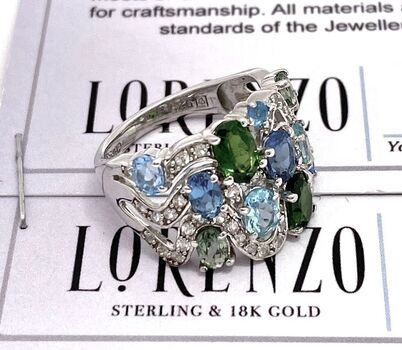 Autentic Lorenzo .925 Sterling Silver 3.38ctw Genuine Multicolor Stone Ring Size 6