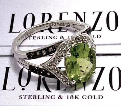 Autentic Lorenzo .925 Sterling Silver 4.50ctw Genuine Peridot, 0.10ctw Genuine Diamond Ring Size 6.5