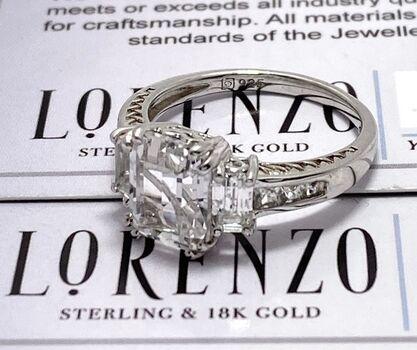 Autentic Lorenzo .925 Sterling Silver 6.50ctw Genuine White Topaz Ring Size 7