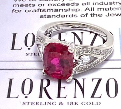 Autentic Lorenzo .925 Sterling Silver Ruby & White Sapphire Ring Size 5.5