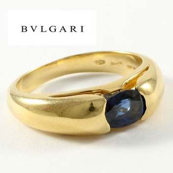 Authentic Estate BVLGARI Solid 18k Yellow Gold Sapphire Ring size 5