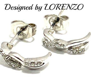 Authentic Lorenzo .925 Sterling Silver, 0.16ctw AAA Grade CZ's Earrings