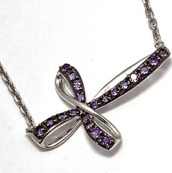 Authentic Lorenzo .925 Sterling Silver, 0.25ctw Amethyst Necklace