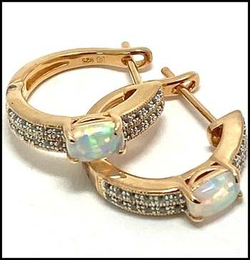 Authentic Lorenzo .925 Sterling Silver, 0.84ctw Opal & White Topaz Earrings