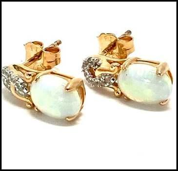 Authentic Lorenzo .925 Sterling Silver, 1.14ctw Opal & White Topaz Earrings