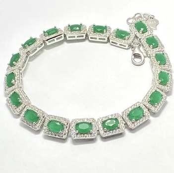 Authentic Lorenzo .925 Sterling Silver, 13.50ctw Emerald & White Topaz Bracelet