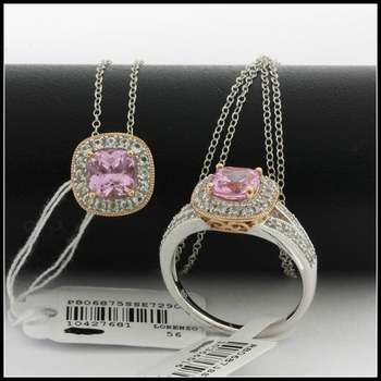 Authentic Lorenzo .925 Sterling Silver 14k Rose&White Gold Plated Genuine Pink & White Topaz Set of Ring & Necklace