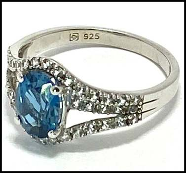 Authentic Lorenzo .925 Sterling Silver, 1.50ctw London Blue Topaz & 0.35ctw White Topaz Ring Size 7