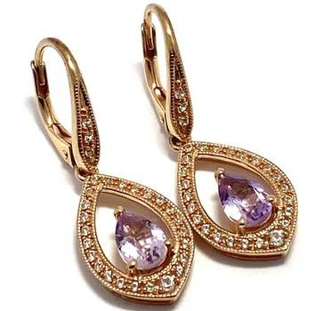 Authentic Lorenzo .925 Sterling Silver, 1.75ctw Amethyst & White Topaz Earrings