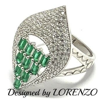 Authentic Lorenzo .925 Sterling Silver, 1.75ctw Emerald & White Sapphire Ring Size 8