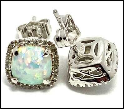 Authentic Lorenzo .925 Sterling Silver, 1.8ctw Opal & White Topaz Earrings
