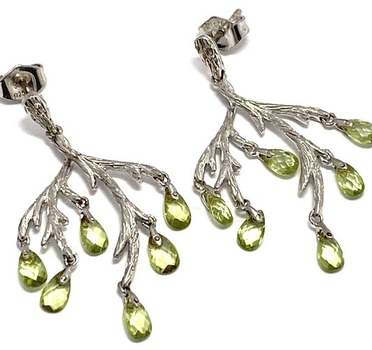 Authentic Lorenzo .925 Sterling Silver, 2.0ctw Briolette Peridot Earrings