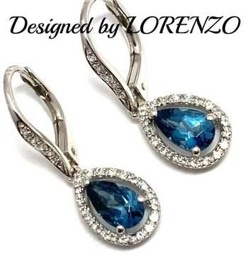 Authentic Lorenzo .925 Sterling Silver, 2.0ctw London Blue Topaz & 0.26ctw White Topaz Earrings