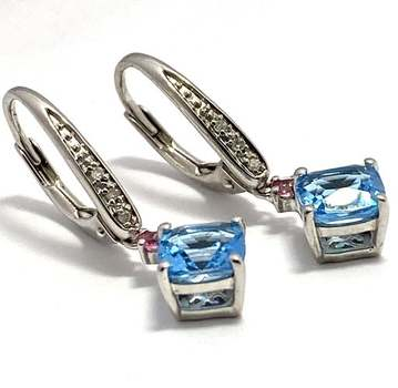 Authentic Lorenzo .925 Sterling Silver, 2.15ctw Blue Topaz & Pink Topaz Earrings