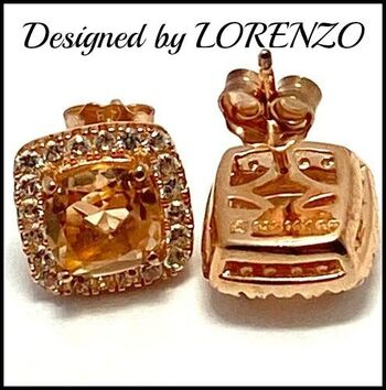 Authentic Lorenzo .925 Sterling Silver, 2.3ctw Yellow&White Topaz Earrings