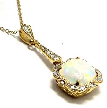 Authentic Lorenzo .925 Sterling Silver, 3.05ctw Opal & White Topaz Necklace