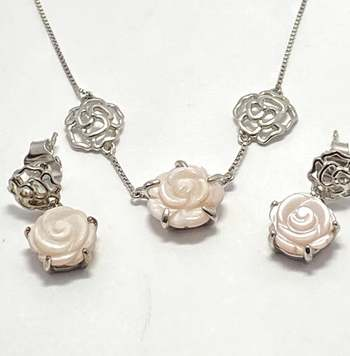Authentic Lorenzo .925 Sterling Silver, 3.0ctw Mother of Pearl Set