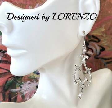 Authentic Lorenzo .925 Sterling Silver, 3.0ctw White Topaz Earrings